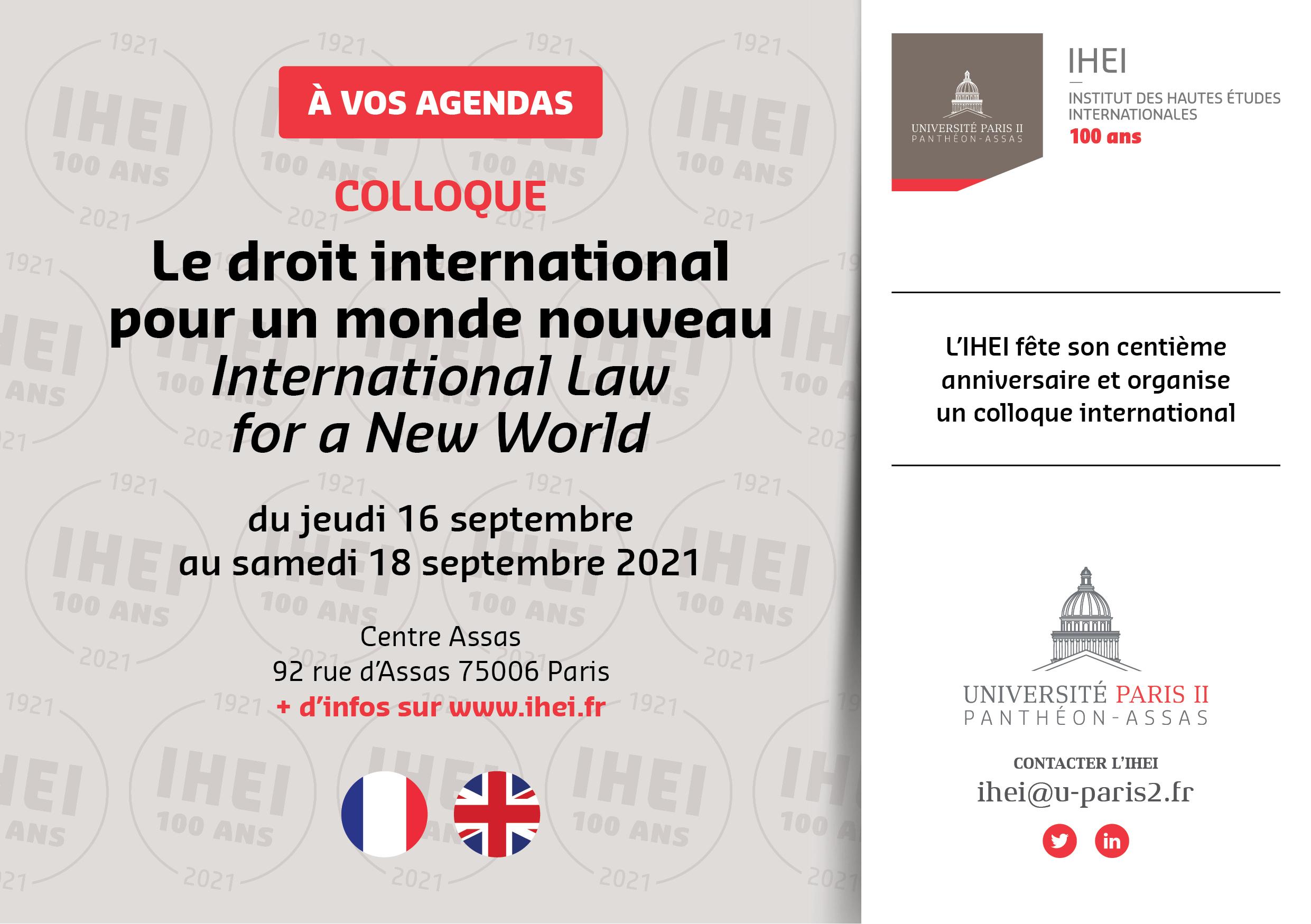 Flyer 100 ans de l'IHEI : le droit international pour un nouveau monde / International Law for a New World